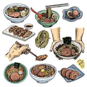 Boceto de comida vintage, conjunto de menú de ramen japonés dibujado a mano