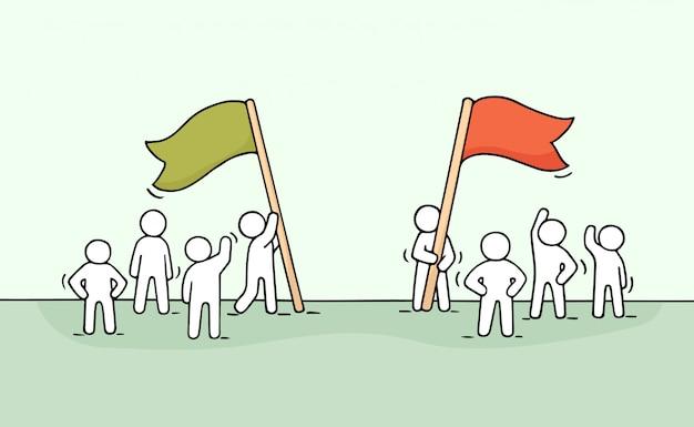 Boceto de competencia con gente trabajadora.