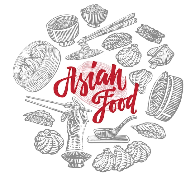Boceto de composición redonda de elementos de comida asiática