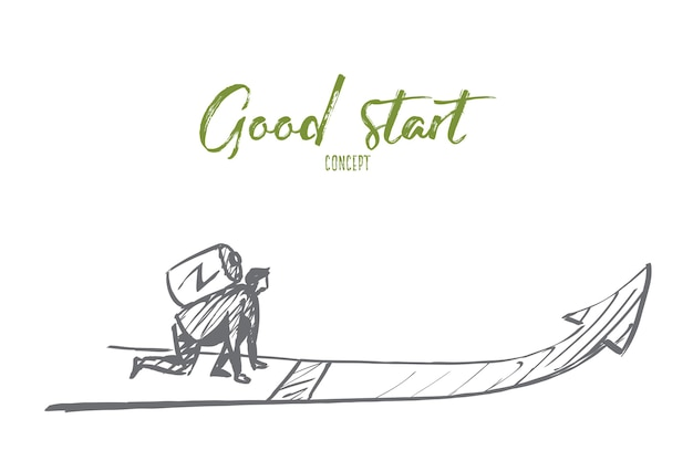 Boceto de concepto de buen comienzo dibujado a mano