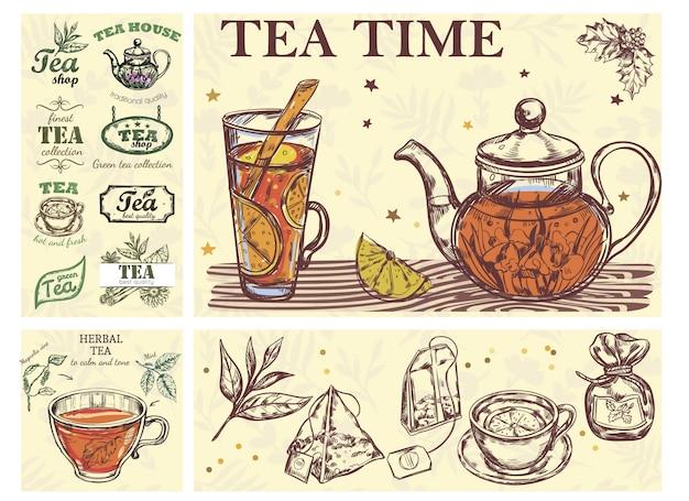 Boceto concepto colorido de la hora del té con tetera taza de vidrio de bolsas de hierbas para bebidas y etiquetas de té
