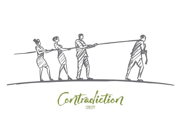 Boceto de concepto de contradicción dibujado a mano con tres personas