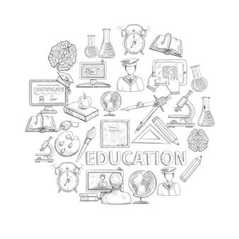 Boceto del concepto de educación con los iconos de estudio de la escuela y la universidad