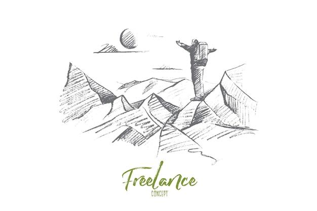 Boceto de concepto independiente dibujado a mano. turista hombre con mochila de pie en la cima de la colina y disfrutando de la naturaleza y el sol