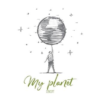 Boceto de concepto de mi planeta dibujado a mano