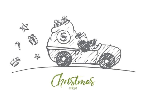 Boceto de concepto de navidad dibujado a mano. santa claus conduciendo