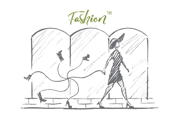 Boceto de concepto de tiempo de moda dibujado a mano
