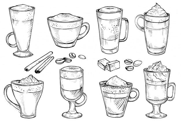 Boceto conjunto de café tipo menú taza de beber.