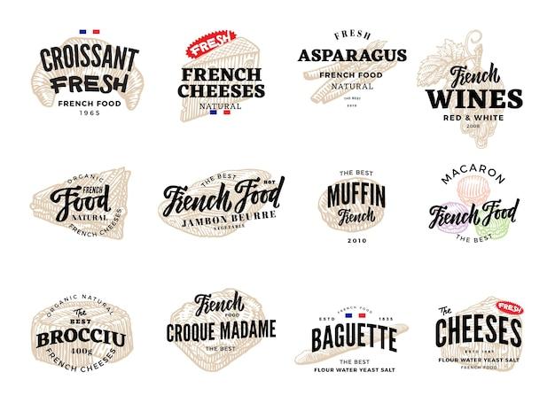 Boceto conjunto de logotipos de comida francesa