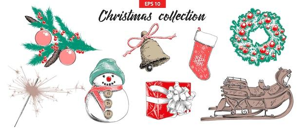 Boceto conjunto de objetos navideños y año nuevo.