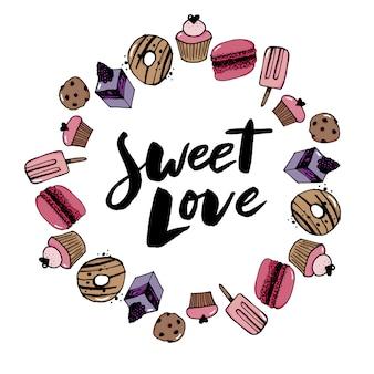 Boceto conjunto de postre. colección de dulces de pastelería dibujado a mano ilustración vectorial. estilo retro.