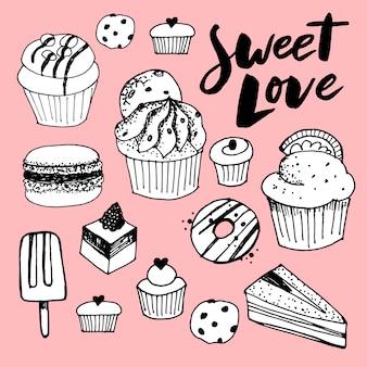 Boceto conjunto de postre. colección de los dulces de los pasteles aislada en el fondo blanco.
