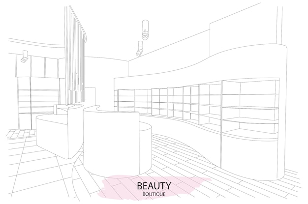Boceto de contorno interior de boutique de belleza con diseño moderno