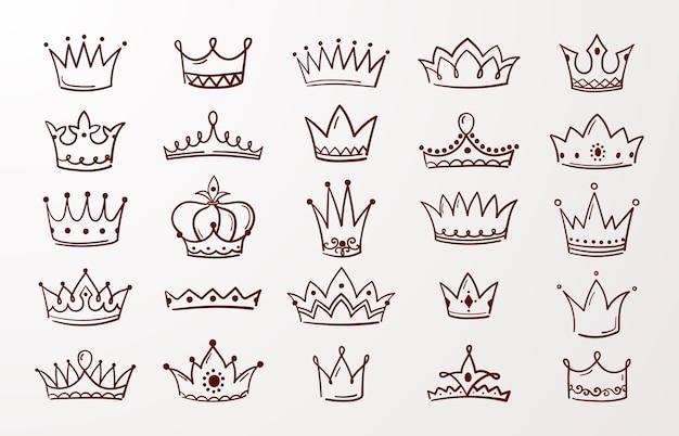 Boceto coronas de doodle de belleza reina o rey