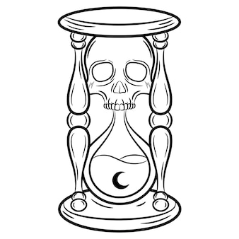 Boceto de cristal de hora de halloween para colorear