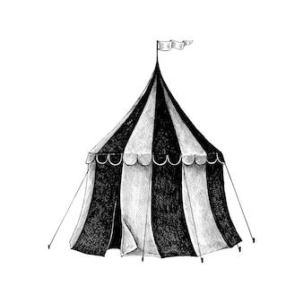 Boceto dibujado a mano de una carpa de circo