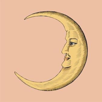 Boceto dibujado a mano de una luna creciente