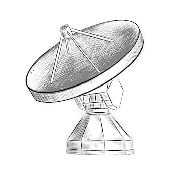 Boceto dibujado a mano de antena de satélite en monocromo aislado
