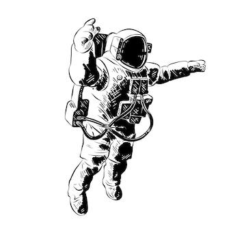 Boceto dibujado a mano de astronauta en negro
