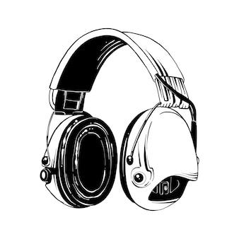 Boceto dibujado a mano de auriculares en negro