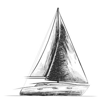 Boceto dibujado a mano de barco de mar en monocromo