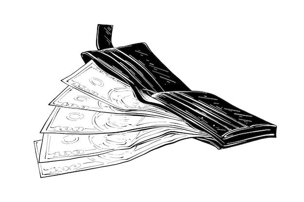 Boceto dibujado a mano de billetera con dinero en negro