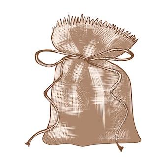 Boceto dibujado a mano de la bolsa de saco en colores