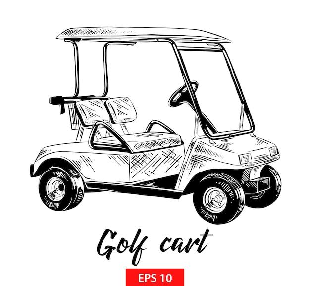 Boceto dibujado a mano de carrito de golf en negro