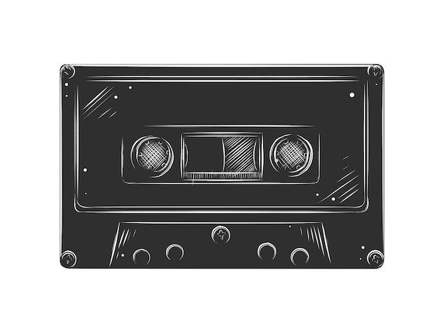 Boceto dibujado a mano de cassette en monocromo