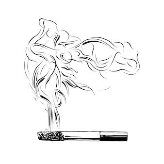 Boceto dibujado a mano de cigarrillo encendido en negro