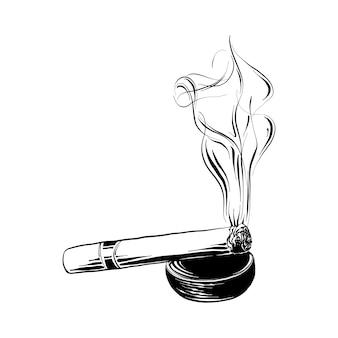Boceto dibujado a mano de cigarro encendido en negro