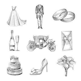 Boceto dibujado a mano de un conjunto de boda. el conjunto incluye vestido de novia, esmoquin, anillos de compromiso, tarjetas de invitación, pastel de bodas de 3 niveles, champán y una copa, carruaje, flor en el ojal, zapatos de boda