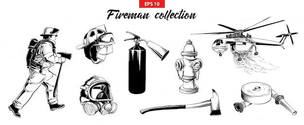 Boceto dibujado a mano conjunto de bomberos odjects