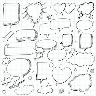 Boceto dibujado a mano conjunto de burbujas de discurso