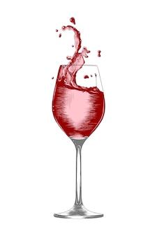 Boceto dibujado a mano una copa de vino con salpicaduras