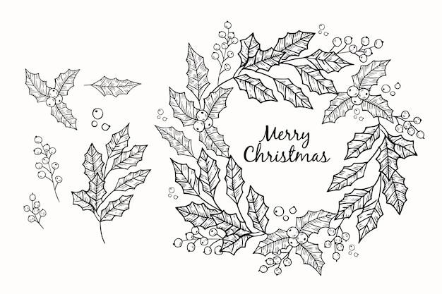 Boceto dibujado a mano corona de navidad