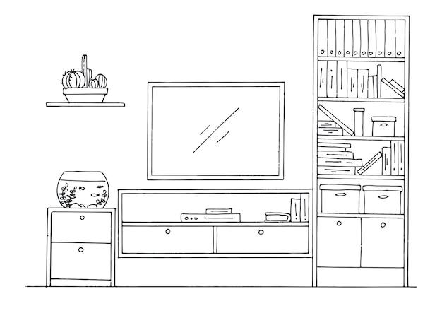 Boceto dibujado a mano. croquis lineal del interior. librería, tocador con tv y estantes. ilustración vectorial