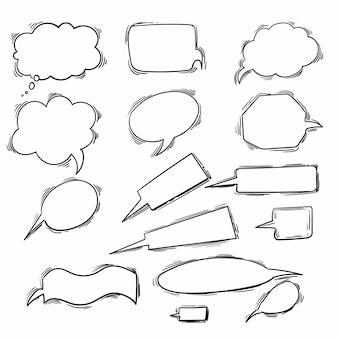 Boceto dibujado a mano diseño de conjunto de burbujas de discurso