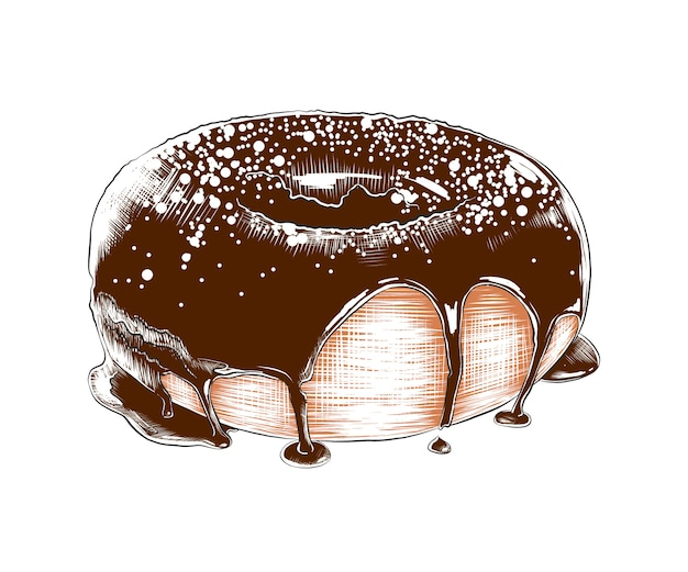 Boceto dibujado mano de donut colorido