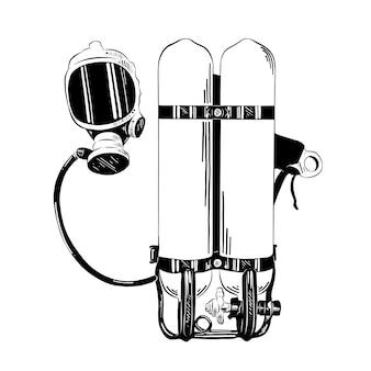 Boceto dibujado a mano de equipos de buceo.