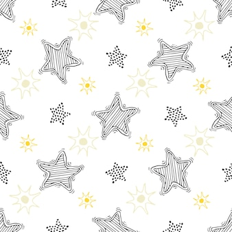 Boceto dibujado a mano estrellas de patrones sin fisuras. fondo infantil para textil o envoltura