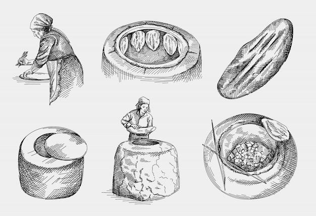 Boceto dibujado a mano de la fabricación de pan tandir nacional de azerbaiyán, masa de pan pita o pide. horno cay para hornear pan tandir. vista superior. tandir colgando y horneando en el horno de barro.