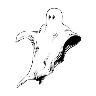 Boceto dibujado a mano de fantasma en negro