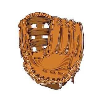 Boceto dibujado mano del guante de béisbol en color aislado en blanco