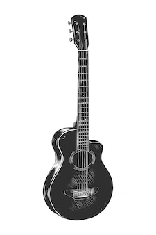 Boceto dibujado a mano de guitarra acústica en monocromo