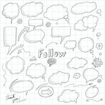 Boceto dibujado a mano hermosa burbuja de discurso diseño de conjunto