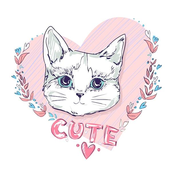 Boceto dibujado a mano ilustración de vector de gato