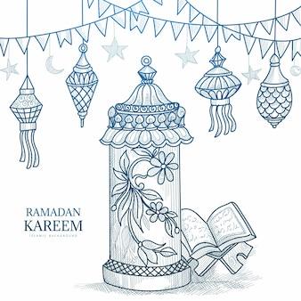 Boceto dibujado a mano del libro sagrado del corán en el stand