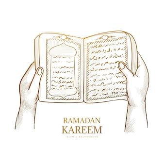 Boceto dibujado a mano el libro sagrado del corán