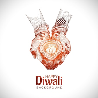 Boceto dibujado a mano para la mano que sostiene el fondo del festival de diwali de la lámpara de aceite indio